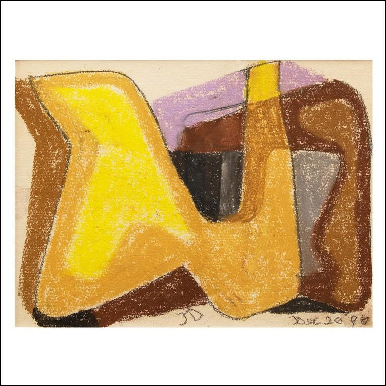 James Daugherty Abstract Drawing - UNTITLED, Abstract Non-Objective Mid-Century Pastel Color Field Drawing