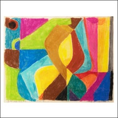 MAGIC CASEMENT, Abstract Non-Objective Mid-Century Pastel Color Field Drawing