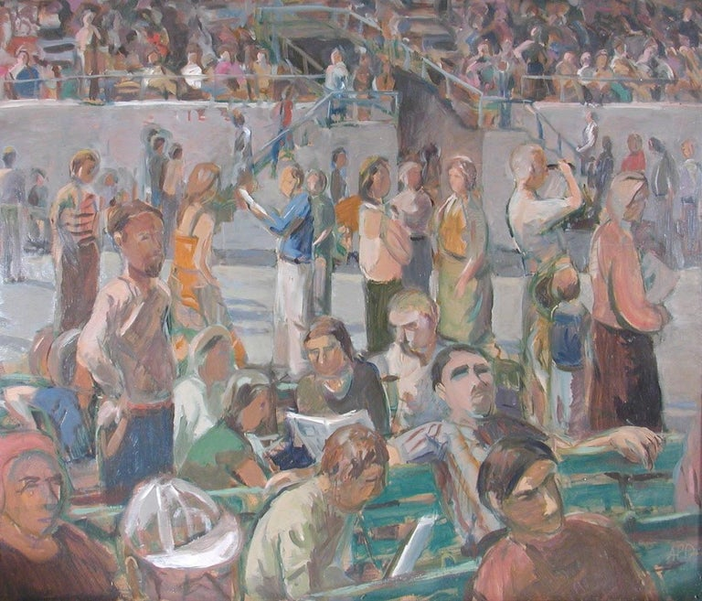 Anne Diggory Landscape Painting - Saratoga Springs Racetrack, Summer Grandstand Crowd, Horse Bettors
