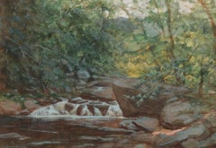 """Waterfall,"" White Mountains or Catskills Hudson River School Landscape Scene"