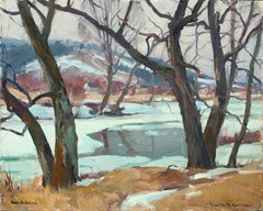 """Winter, Vermont,"" Snowy Impressionist River, Rustic New England Landscape View"
