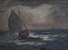 """Rockport, October,"" Antique Modernist Massachusetts Seascape Sailboat"
