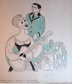 Mary Martin THE SOUND OF MUSIC original Broadway musical drawing Mid-Century