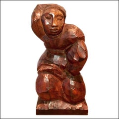 KNEELING WOMAN modern mid-century modernist WPA carved wood sculpture