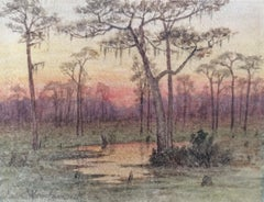 """Florida Everglades Sunset,"" Luminist Hudson River School by Female Artist"