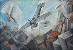 """Airplanes Dive Over Enemy Skies"" Italian Futurism Futurist Transportation Plane"