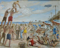 """Reginald Marsh Sketching at Coney Island Beach"" NYC WPA Modern American Scene"
