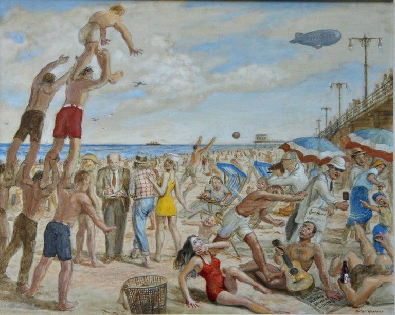 "Peter Hopkins Landscape Painting - ""Reginald Marsh Sketching at Coney Island Beach"" NYC WPA Modern American Scene"