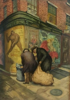 """Rag Pickers"" NYC Depression Era WPA American Scene Modernism Figurative Realism"