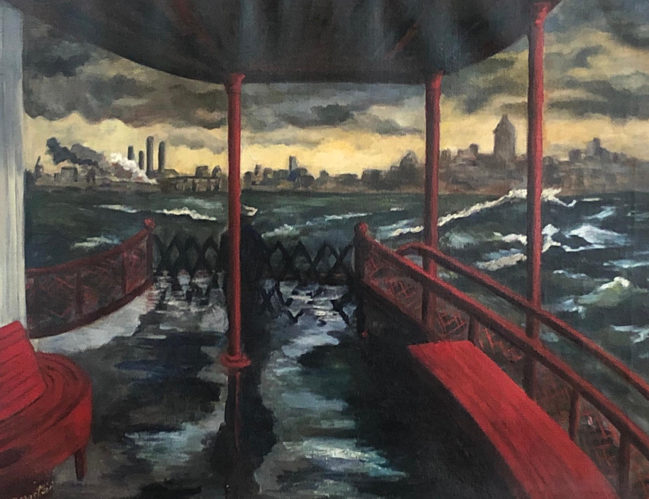 """Staten Island Ferry"" WPA Modern NYC Cityscape Mid-Century Realism 20th Century"