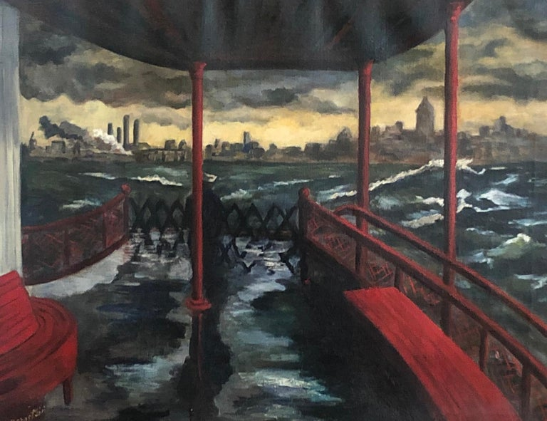 "Gerald Bernstein Figurative Painting - ""Staten Island Ferry"" WPA Modern NYC Cityscape Mid-Century Realism 20th Century"