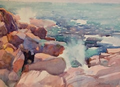 """Bass Rocks, Gloucester, Massachusetts"" Watercolor Bright Seascape"
