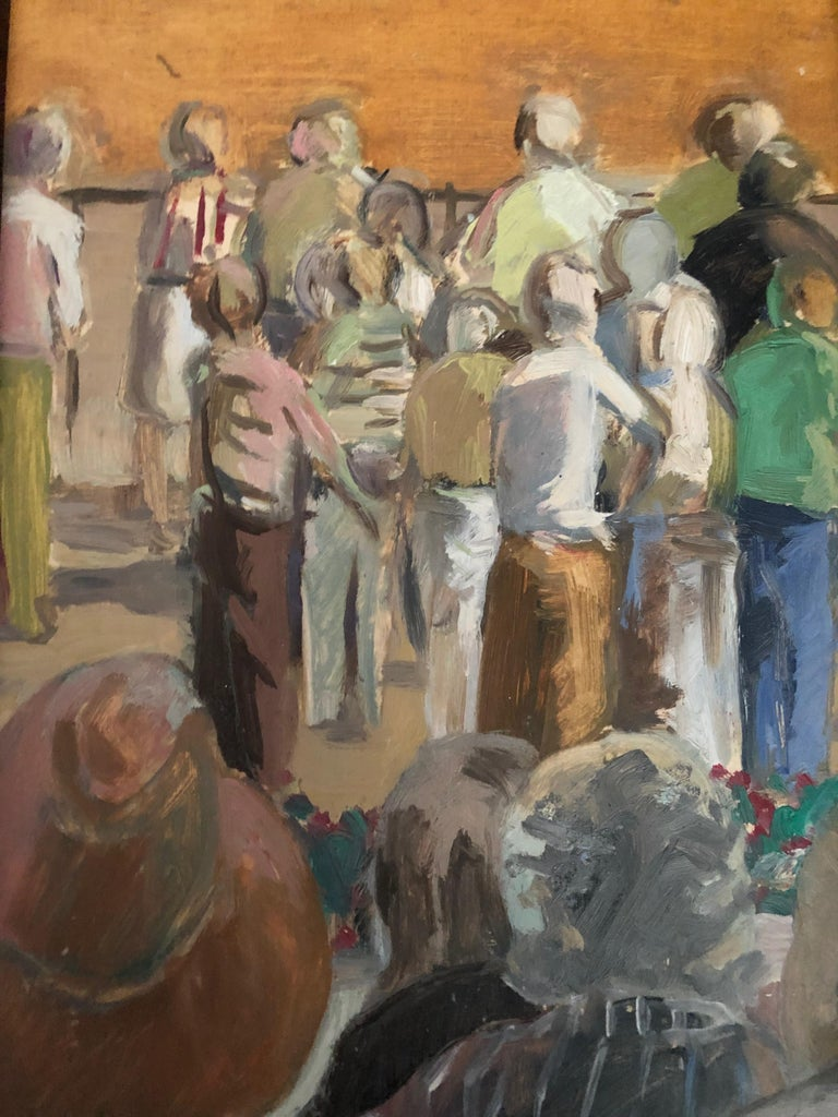 Anne Diggory Figurative Painting - From the Grandstand - View of Racetrack and Crowd, Saratoga Springs, New York