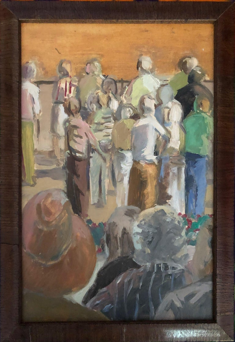 From the Grandstand - View of Racetrack and Crowd, Saratoga Springs, New York - Painting by Anne Diggory
