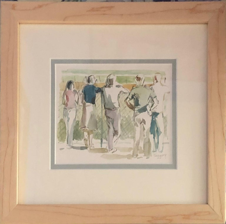 Five at the Rail, View of Racetrack and Crowd, Saratoga Springs, New York - Art by Anne Diggory