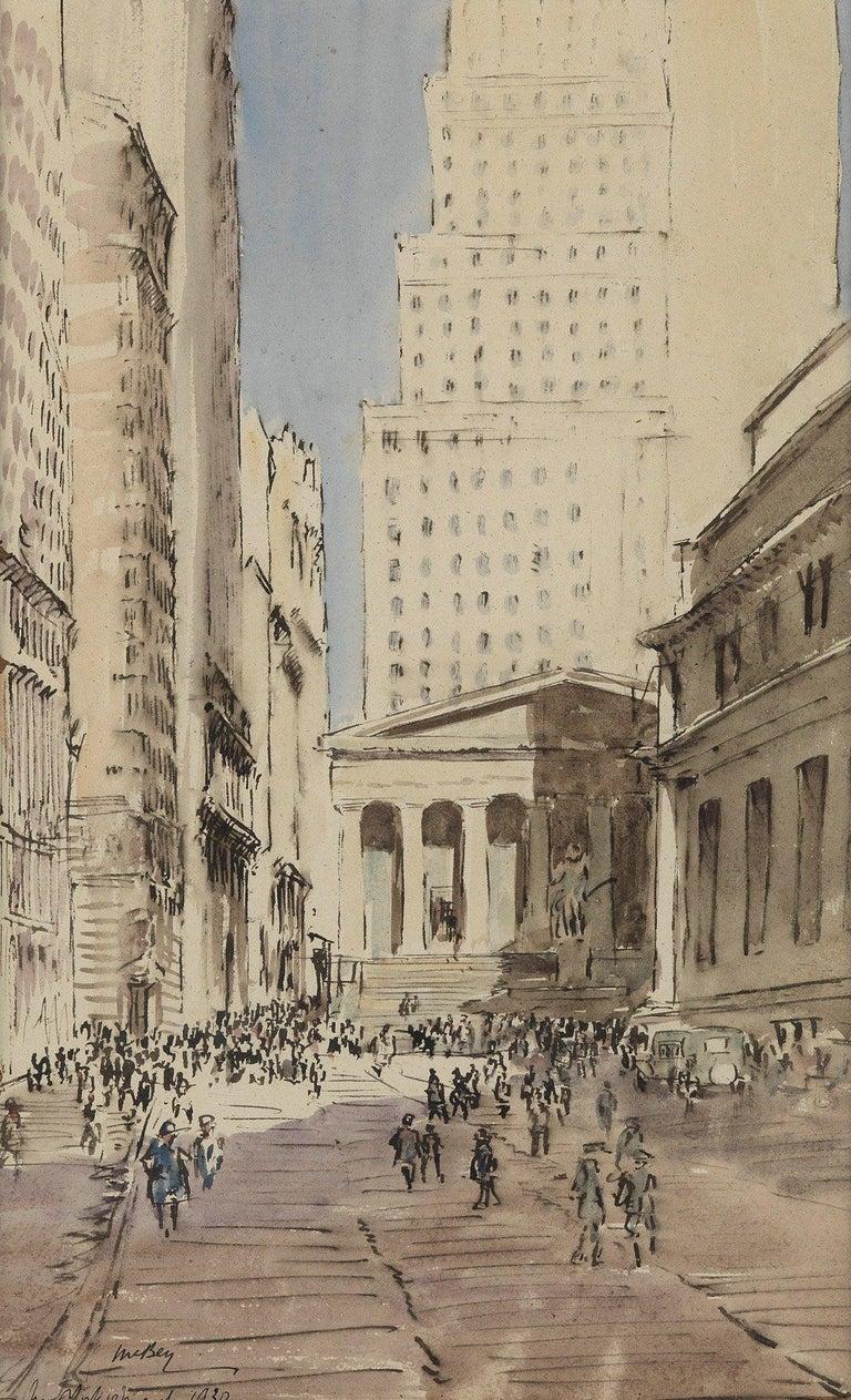 "James McBey. Landscape Art - ""Sub-Treasury Building, Wall Street, New York,"" Cityscape Scene, Lower Manhattan"
