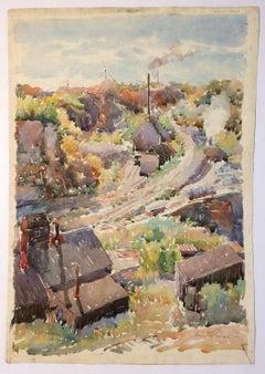 """""""Industrial Landscape,"""" WPA Mid-Century Modern Social Realist Watercolor"""