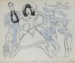 "Ethel Merman ""Annie Get Your Gun"" original Mid Century  Broadway theatre drawing"