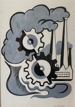Machine Age industrial Mid 20th Century Drawing Robert Addison WPA Modernism