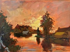 French Impressionist, River Landscape at Sunset with Pink and Orange Sky