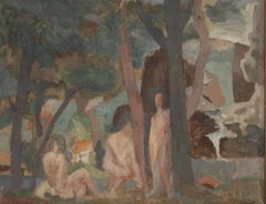 Modernist Forest Landscape Scene with Nude Figures, George F. Of, American