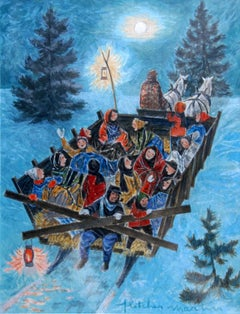 """Sleigh Ride, Winter,"" Fletcher Martin, Woodstock, Holiday Scene Illustration"