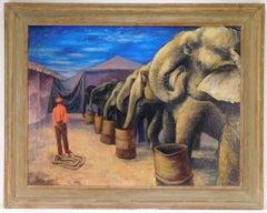 Circus Elephants American Modernism WPA Regionalism Mid-Century Modern Oil
