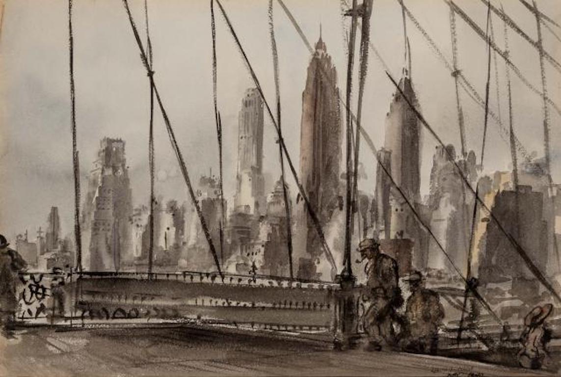 "Reginald Marsh ""Brooklyn Bridge"" NYC Modernism WPA Mid-Century Watercolor Modern"