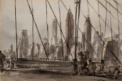 "Reginald Marsh ""Brooklyn Bridge"" NYC Modernism WPA Mid-Century Watercolor Modern"