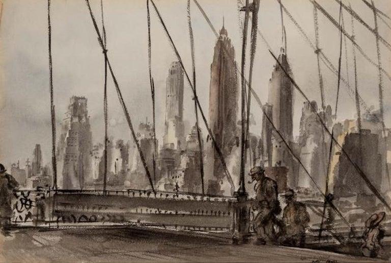 "Reginald Marsh ""Brooklyn Bridge"" NYC Modernism WPA Mid-Century Watercolor Modern - Art by Reginald Marsh"