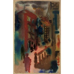 George Grosz NYC City Scene Modernism Watercolor  German Expressionism Weimar