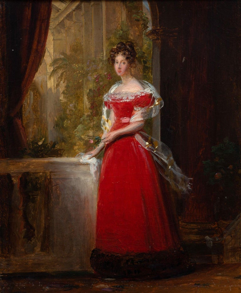 """Circle of Francois Baron Gerard Portrait Painting - """"Portrait of Lady in Red on the Terrace,"""" Francois Gerard, French Nobles"""