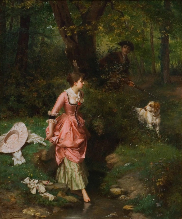 """""""Young Beauty Crossing Brook with Hunter,"""" Emile Pierre Metzmacher French Salon - Painting by Emile Pierre Metzmacher"""