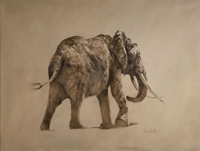 """African Elephant Walking,"" Spencer Hodge, Safari Wildlife Animals, Realism"