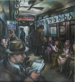 """Subway Riders"" NYC Drawing WPA Modern Modernism Social Realism 20th Century"