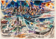 NYC Watercolor Drawing American Modern 20th Century Modernism Mid-Century WPA