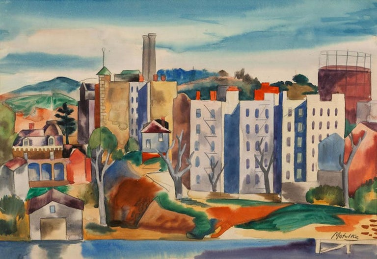Jan Matulka VIEW OF THE BRONX Watercolor American Modern NYC 20th Century - Mixed Media Art by Jan Matulka