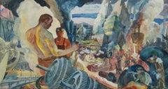 INDUSTRY American Scene Modernism WPA Mural Study Industrial Mid-Century Realism