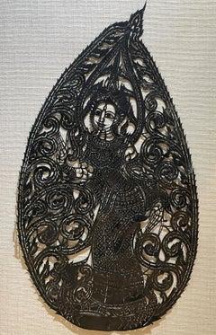 Antique Thai Shadow Puppet, Buffalo Hide, Nang Yai