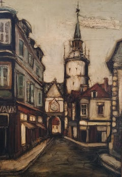 """""""Cityscape in France,"""" Franz Priking, Large Vertical Modern French Town Scene"""