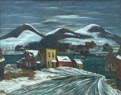 """The Ferry No. 2,"" Charles Harsanyi, Modern, Large WPA Ashcan Landscape Scene"