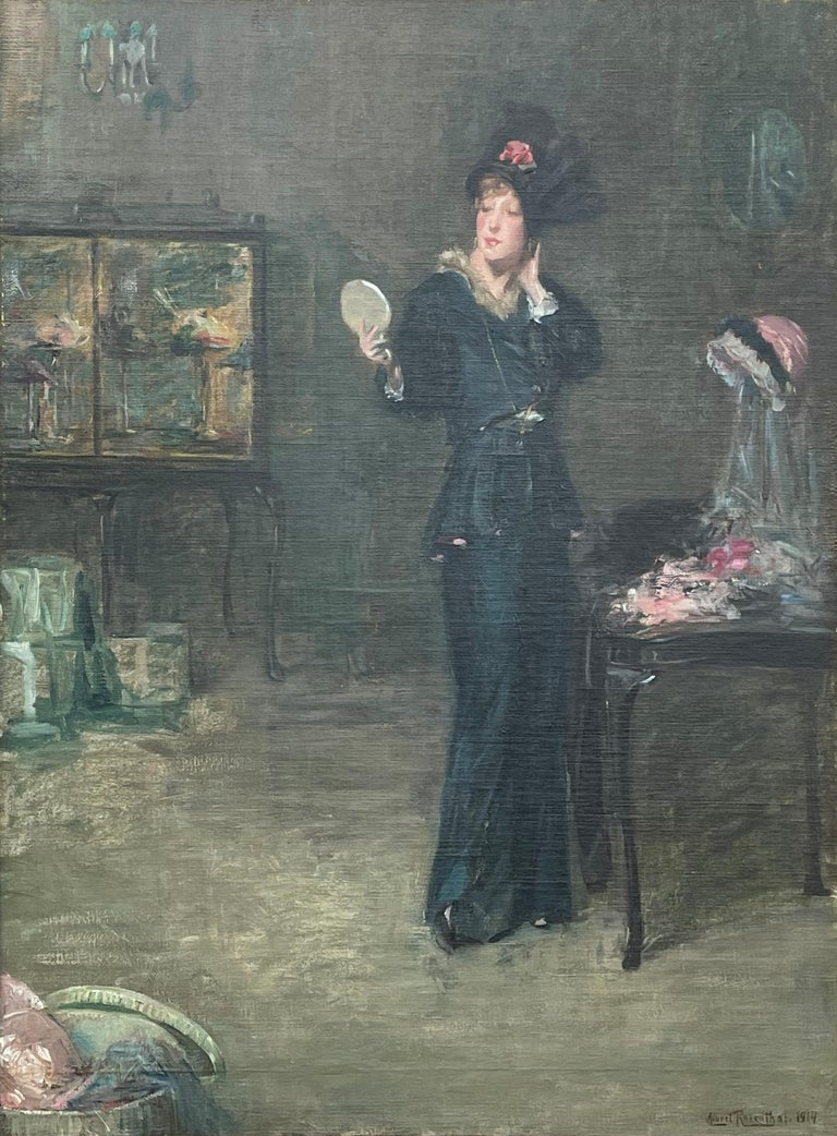 """""""Milliner's Shop, New York"""" Albert Rosenthal, Society Lady in a Hat Store - Painting by Albert Rosenthal"""