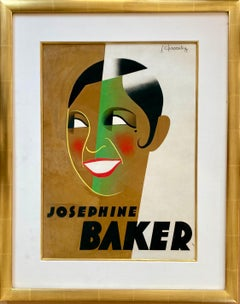 Josephine Baker, Original 1931 Gouache, Design/Study for French Art Deco Poster