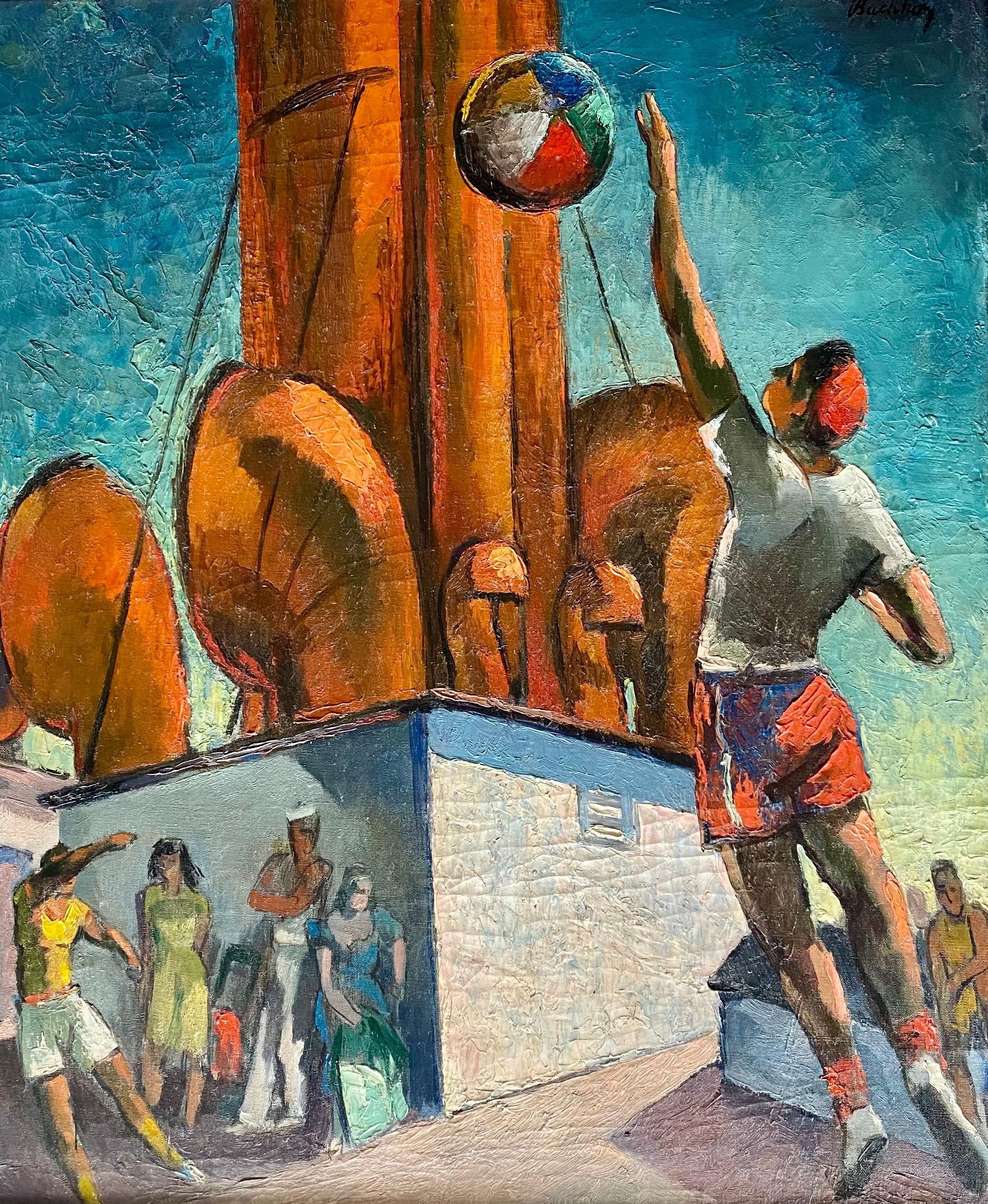 "Mid-Century Modern American Scene WPA Era ""Cruise Ship Antics"" c. 1940s Nautical"