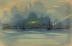 """""""New York City Harbor"""" Leon Dolice, Downtown Skyline, East and Hudson River"""