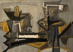 """""""Untitled Abstract,"""" John Levee, French Abstract Expressionism"""