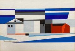 Landscape w/ Barn Abstract Mid-Century Precisionist Gouache Paper Contemporary