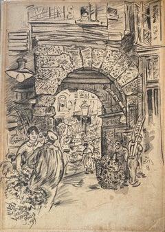 """Street Scene, Paris, France"" Jerome Myers, Ashcan School Drawing"