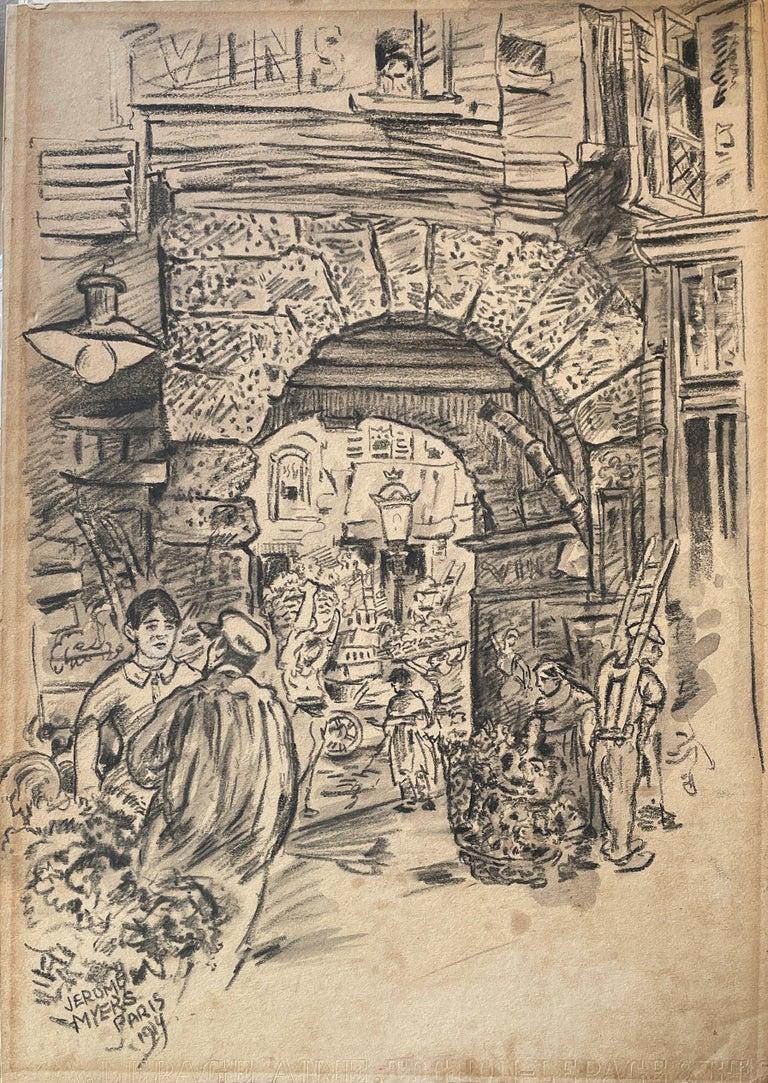 """Street Scene, Paris, France"" Jerome Myers, Ashcan School Drawing - Art by Jerome Myers"