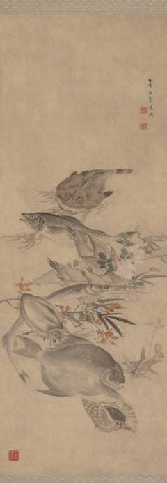 """Sea Life: Fish and Animals,"" Kikuchi Hobun, Japanese Scroll, Kyoto School"